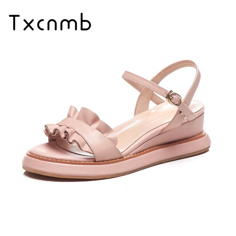 TXCNMB 2019 Women Pumps Summer Wedge Sandals Genuine Leather Casual Sandals Chain Buckle Sandals Fashion platform