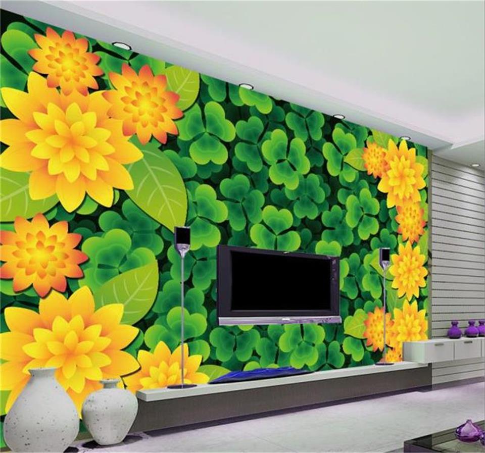 カスタムサイズ 3d 写真の壁紙リビングルーム壁画三つ葉クローバーの花