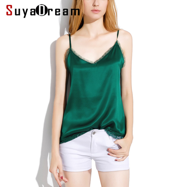 SuyaDream Women Silk Camis 100%Real Silk Satin Sexy V neck lace Camisoles 2020 Summer Bottoming T shirt Black White Tanks