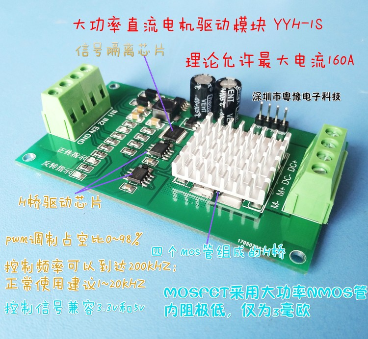 DC motor drive module, H bridge, high-power reverse brake, PWM speed regulation, flying thinking, Carle