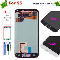 100% Super AMOLED for Samsung Galaxy S5 G900 G900F LCD Display Touch Screen Digitizer full Assembly Replacement With Home Button