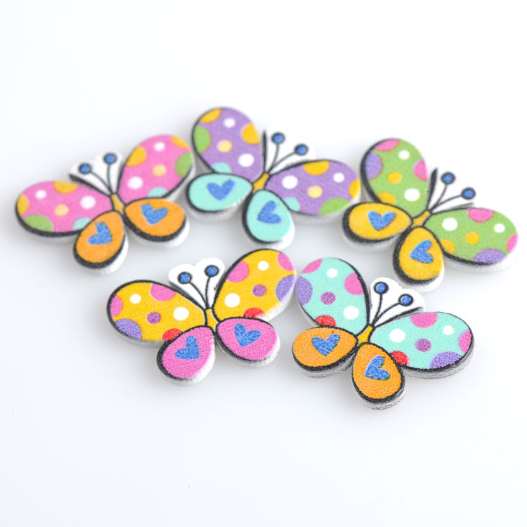 50pcs 20x30mm no holes mixed butterfly wooden decorative for Decorative buttons for crafts
