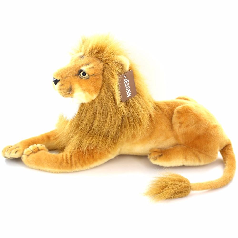 JESONN Realistiska fyllda djur Lion Plush Leksaker för barns födelsedagspresenter