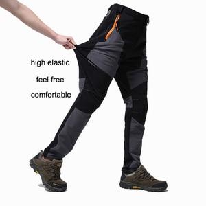 Image 2 - Lomaiyi estiramento homem calças casuais dos homens primavera/outono à prova dwaterproof água sweatpants masculino magro ajuste calças de trabalho para homens am042