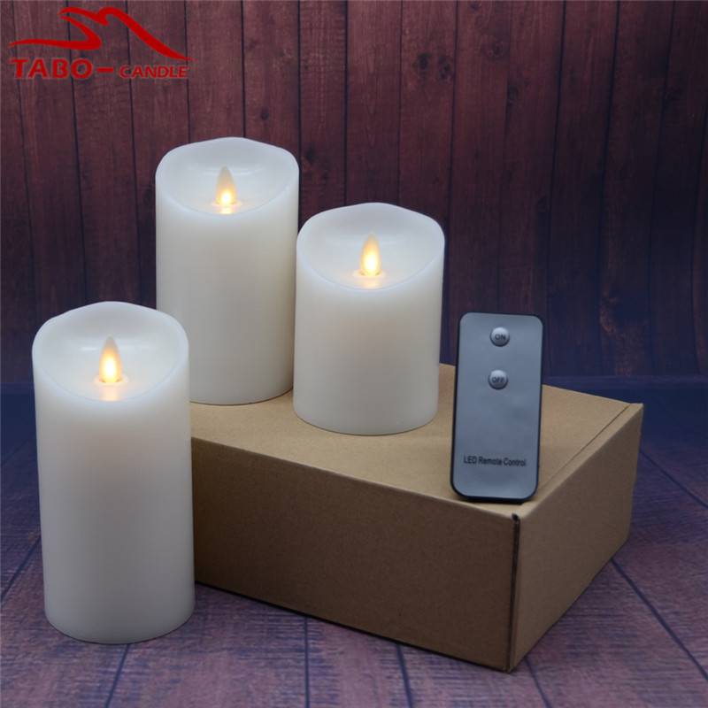 real wax battery operated moving wick led candle in brown box flameless ivory wax led candles for halloween christmas window