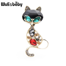 Wuli&baby Classic Crystal Cat Brooches Women Metal Big Head Lovely Fox Animal Brooch Pins Gifts