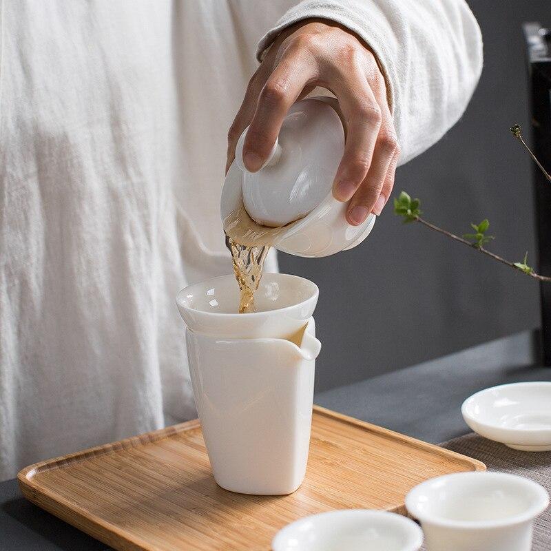 New Arrival Dehua China white porcelain tea gift box set Chinese Kung Fu tea gift Ceramic teaware sets Free Shipping - 4