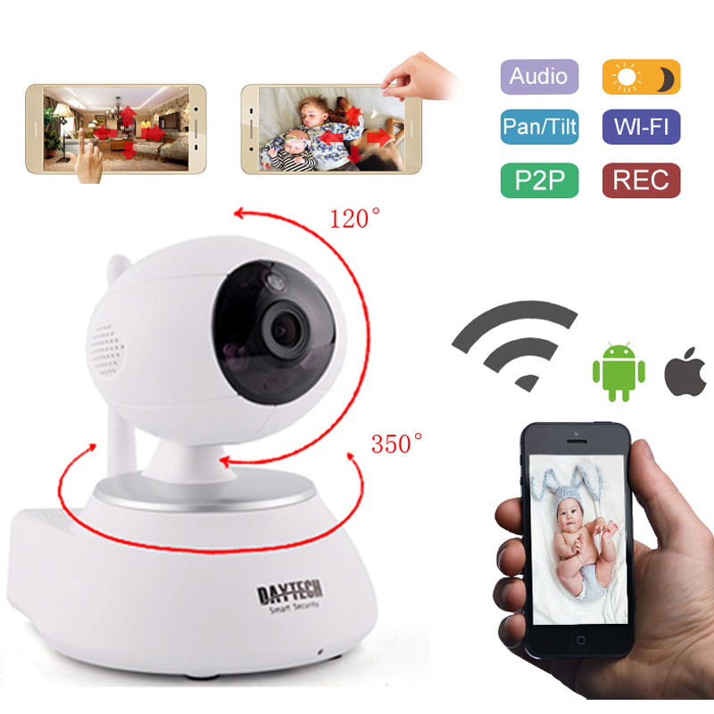 DAYTECH WiFi IP Camera Wireless Security Camera Wi-Fi P2P Network Baby Monitor Night Vision Two Way Audio Motion Detection Alarm daytech wireless ip network security camera 720p wifi surveillance video baby monitor p t camera two way audio on mobile dtc102