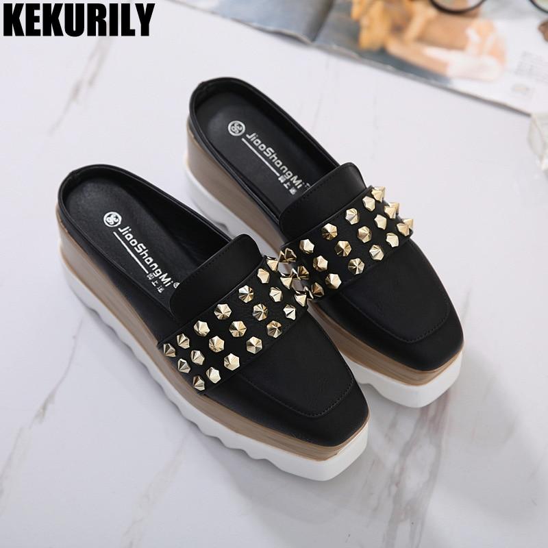 Sapatos de plataforma rebite mulher mulas sapatos desliza 2018 moda confortáveis chinelos primavera verão flats sandálias Preto branco