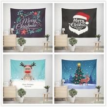 купить Santa Claus Elk Wall Tapestry Boho Decor Witchcraft Christmas Tapestry Wall Hanging Mandala Tapiz Wall Fabric Carpet Table Cloth по цене 529.3 рублей