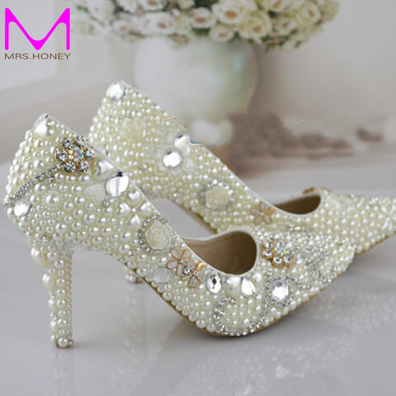 Pointed Toe Pearl Wedding Shoes 3 Inches High Heel Bridal Dress Ivory Color Women Party For Prom Pumps In S From On
