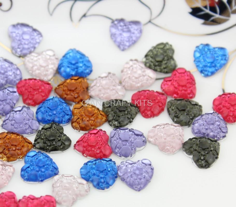700pcs mixed colors Matte art deco Hearts cameo filigree resin Cabochons DIY Flatback Appliques foiled rhinestone gem Cabs