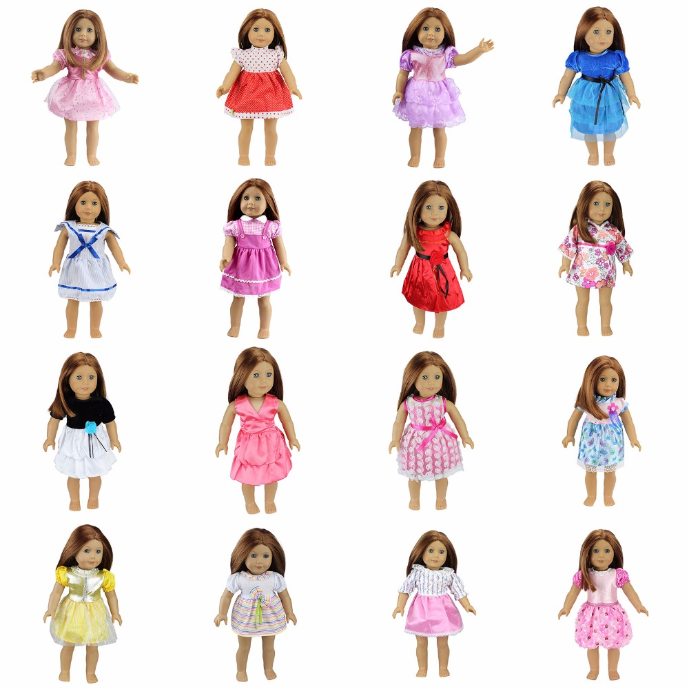 15 Colors American Girl Doll Dress 18 Inch Doll Clothes And Accessories Dresses american girl dolls clothing 6 styles elegant color flower print long dress for 18 inch doll clothes accessories girl x 40