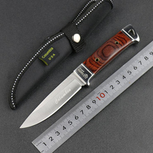 Jeslon Handmade Handle Forged Damascus Stainless Steel Knife 3Cr13Mov Mini Tactical Straight Knife Outdoor Camping with Sheath