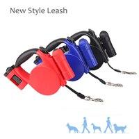 2017 Pet Dog leash Có Thể Thu Vào Ba Chức Năng Đối Với Small Medium Dog leash Nylon leash lead Sản Phẩm Đỏ Đen 5 M ánh sáng ChiHuaHua