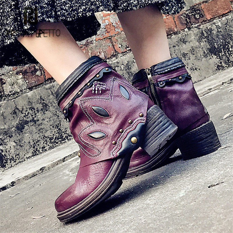 Prova Perfetto Purple Women Ankle Boots Rivets Martin Boot Platform Rubber Shoes Female Ethnic Botas Mujer Short Booties