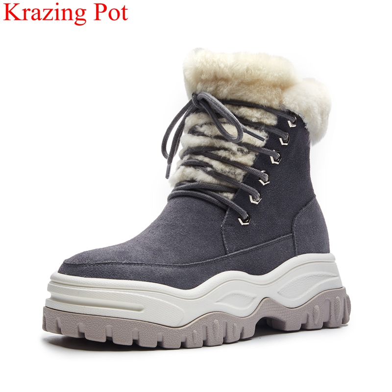 15886800e40e 2018 genuine leather fur platform high heels round toe snow boots women  elegant thick bottom ankle boots warm winter shoes L13