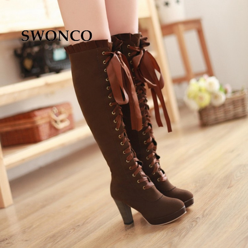 SWONCO Women's High Boots 2018 Autumn Winter Sexy Lace Up Knee high Boot Female Shoes Boots Women High Heels Leather Woman Boot