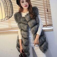Высококачественный меховой жилет, роскошное теплое Женское пальто из искусственного лисьего меха, зимнее модное женское меховое пальто, куртка, жилет, жилет, 4XL PC043