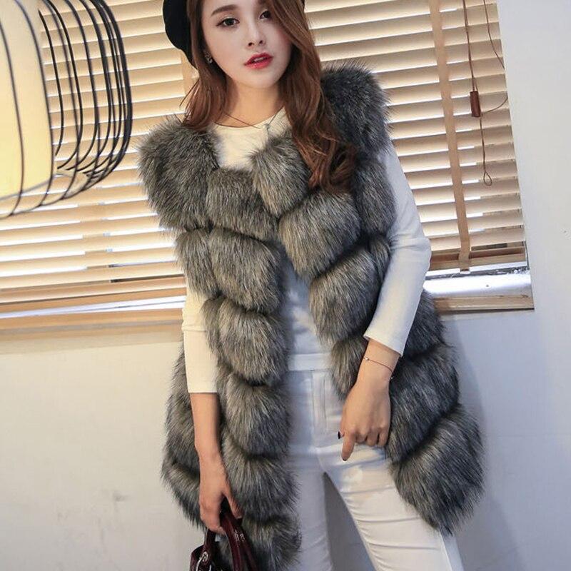 HONGZUO 2016 Kış Fsahion Kürk Yelek GreyWomen Faux Fox Kürk Yelek Jile Coat Kabanlar Sıcak Palto Parka Artı Boyutu PC043
