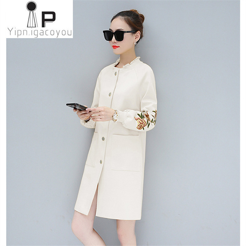 Trench   coat for women 2018 Spring New Plus size printing feminine coat long windbreaker pink coats Fashion female coats A133