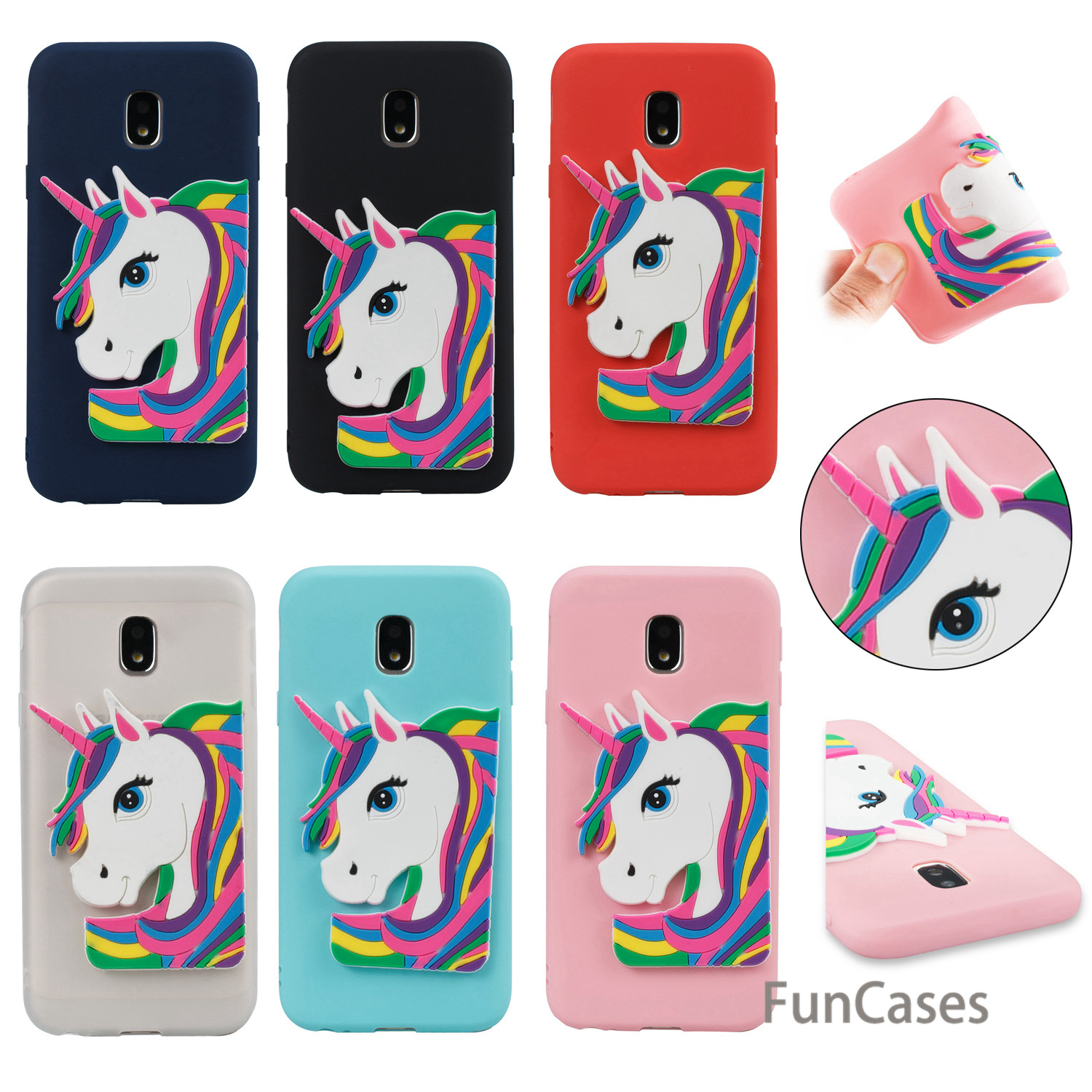 Rubber Unicorn Case sFor Celular Samsung J730 European Version Soft Silicone Back Cover Coque Samsung Galaxy J7 2017 EU Version