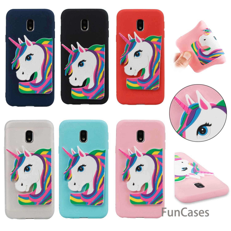 Rubber Unicorn Case sFor Celular Samsung J730 European Version Soft Silicone Back Cover Coque Samsung Galaxy J7 2017 EU Version