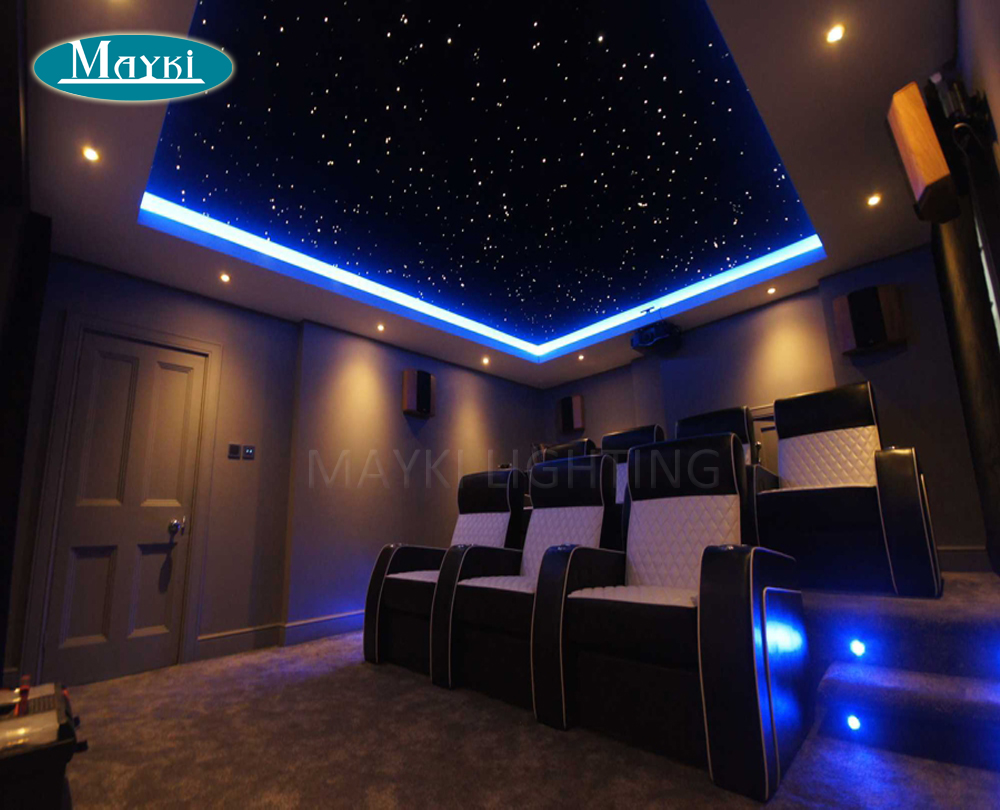 Maykit 2017 Cree Chip Led Dual Port Optic Fibre Lighting With 600 Strands 12v 50000h 10watt Twinkle Projector for Cinema Ceiling