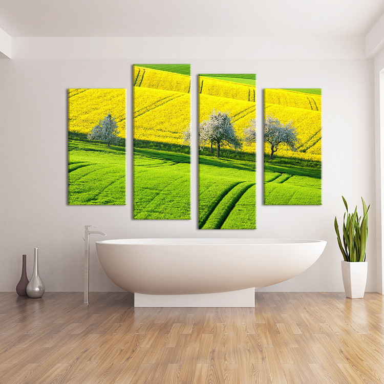 Hot Sells 4 Panels The bright fields Painting Canvas Wall Art Home Decoration Living Room Print On Canvas Modern Painting