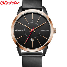 Men Watch Gladster Men's Military Sports Chronograph Wrist Watches NATO Genuine Leather Watchband Males Geneva Quartz Clock Men