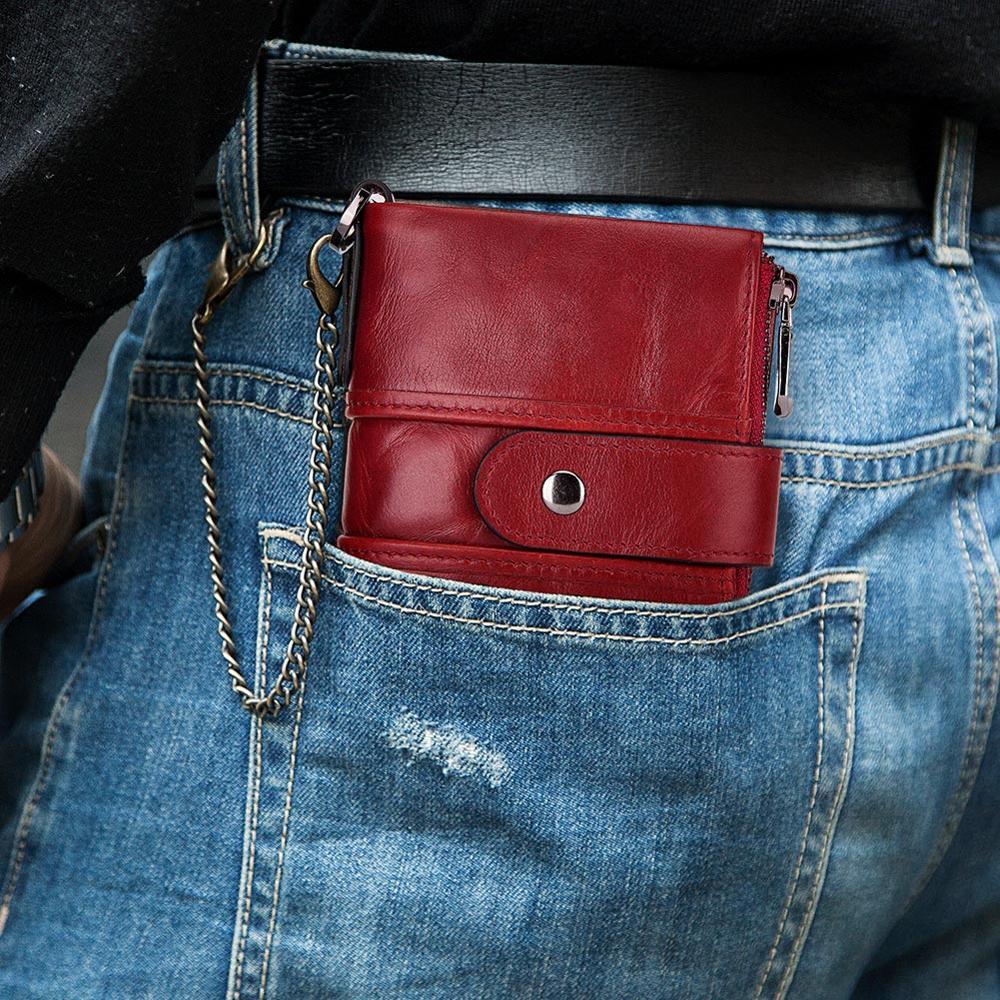 KAVIS Rfid 100% ของแท้หนังผู้หญิงกระเป๋าสตางค์หญิง Portomonee กระเป๋าสตางค์เหรียญสั้นเงินชายคุณภาพกระเป๋าขนาดเล็กสำหรับชายหญิงโซ่-ใน กระเป๋าสตางค์ จาก สัมภาระและกระเป๋า บน AliExpress - 11.11_สิบเอ็ด สิบเอ็ดวันคนโสด 1