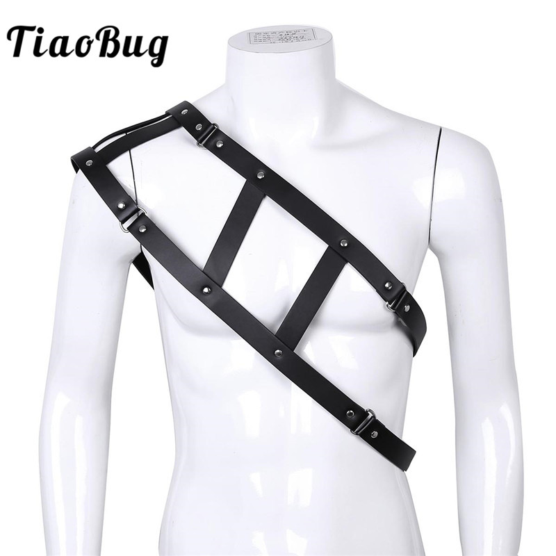 TiaoBug Faux Leather Sexy One-shoulder Adjustable Rivet Bondage Belt Men Body Chest Harness Men BDSM Bondage Punk Gothic Costume