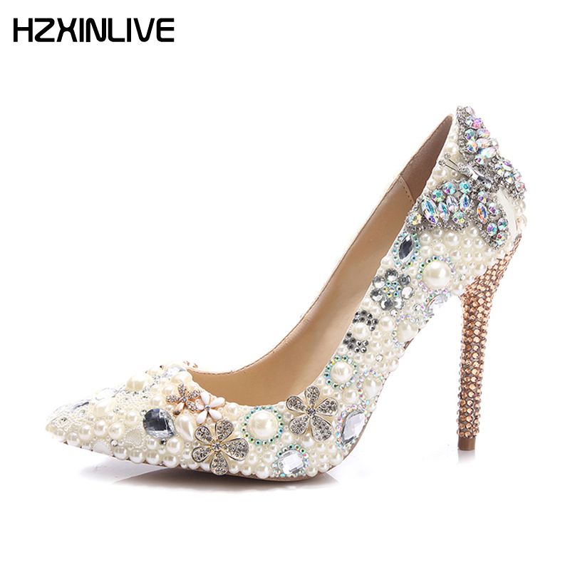 GGOB Luxury Pearl Crystal Flower Wedding Shoes Woman High Heels Pumps 11cm Handmade Sheepskin 2018 Designer Women Bridal Shoes handmade crystal pearl beading ankle boots for 2018 woman sweet lace flower platform high chunky heels pumps wedding dress shoes