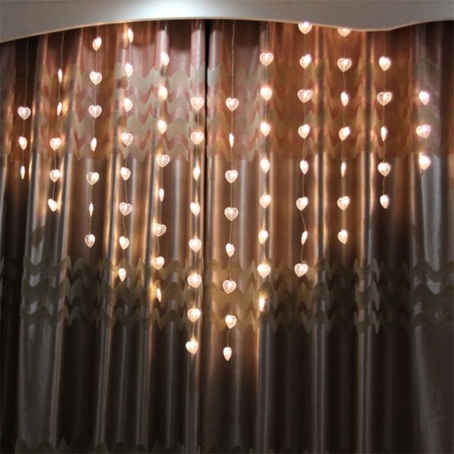 EU Plug 1.5M Love Heart Shape LED String Lights Valentine Day Strip Lamp  Room Curtain Decoration ALI88