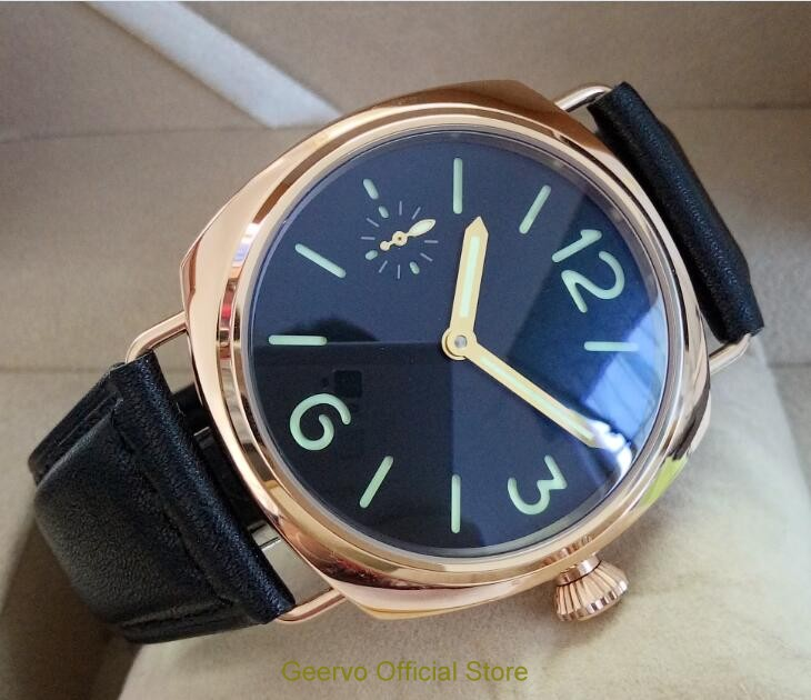 45mm GEERVO black dial Asian 6497 17 jewels Mechanical Hand Wind gooseneck movement men s watch