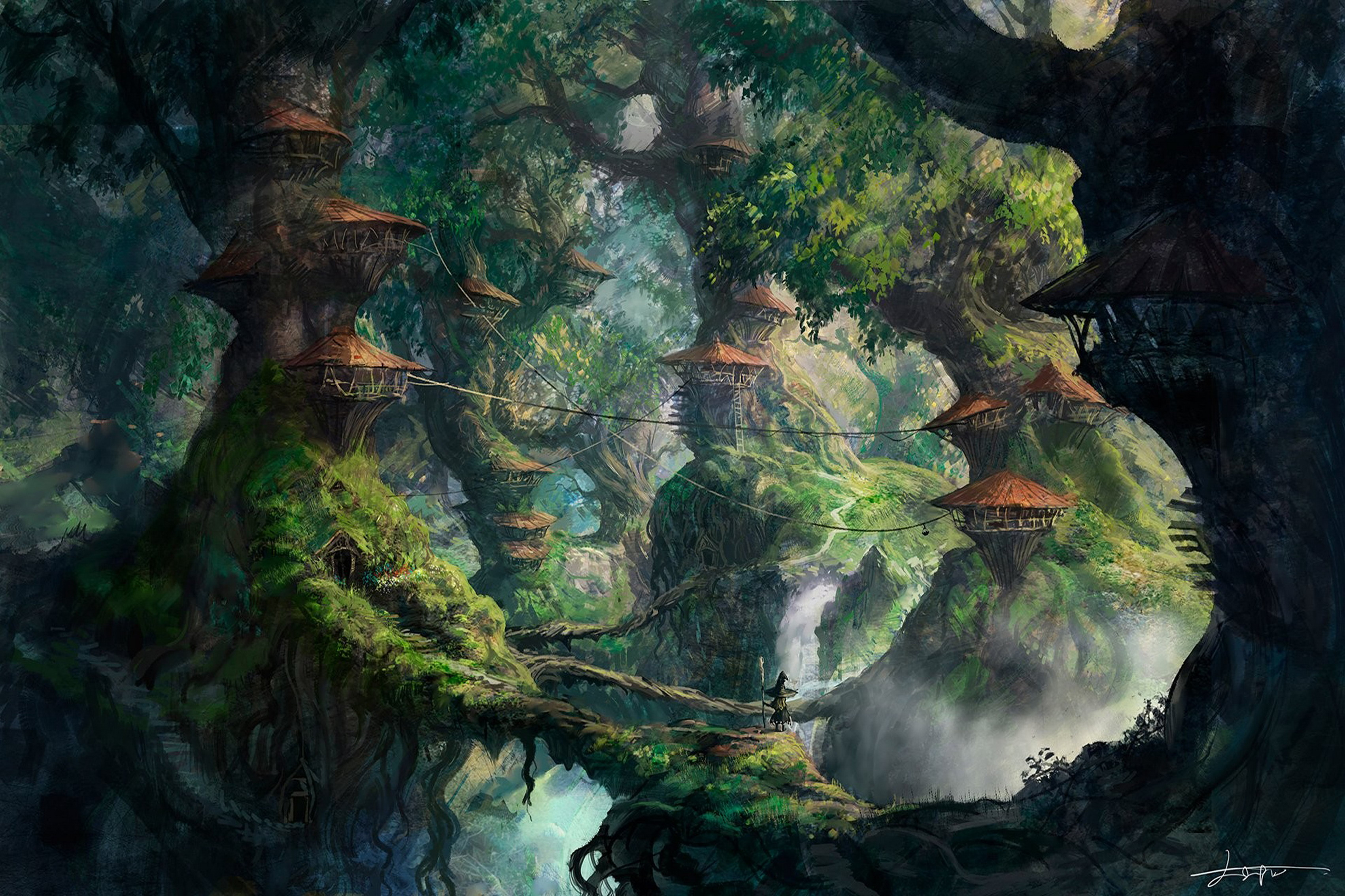 Fantasy art wizard forest trees artwork digital Living