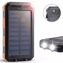 12000mAh Solar Power Bank 10000 mah waterproof Powerbak Charge battery With LED Light Travel Universal Compass for cellphone
