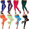 Stretch 8 Colors Dancing Pant Ripped Leggings Elasticized Waist Women Sexy Leggings Ripped Pants Winter Leggings New Fashion