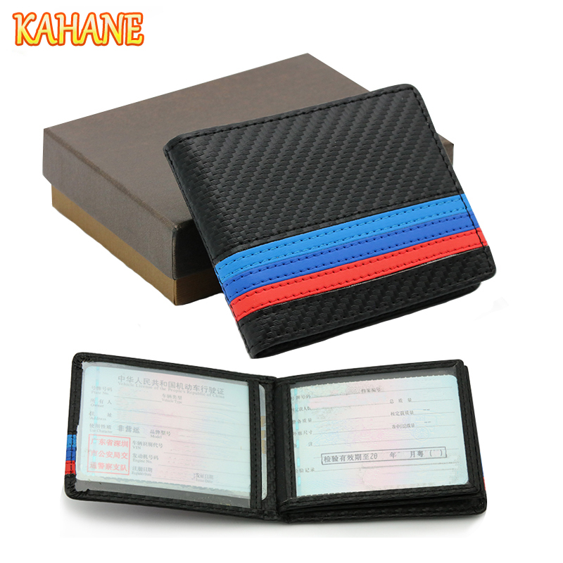 KAHANE Genuine Leather M Color Car Drivers License Holder Bag Credit Card Bag For BMW E60 E90 F10 E64 E65 E91 E92 F10 F15 F30