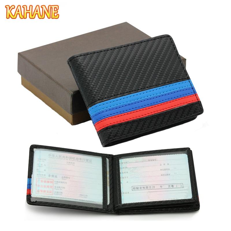 KAHANE Genuine Leather M Color Car Drivers License Holder Bag Credit Card Bag For BMW E60 E90 F10 E64 E65 E91 E92 F10 F15 F30
