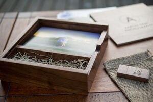 Image 5 - (Free logo or words names engraving) Wooden Photo Album Box USB 3.0 Pendrive DIY Engraved Logo Wedding Memory