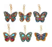 Hot Sale Butterfly Design 5D Full Diy Diamond Painting Keychain Custom Painting With Round Beads One Pack Special Diamond YSK26