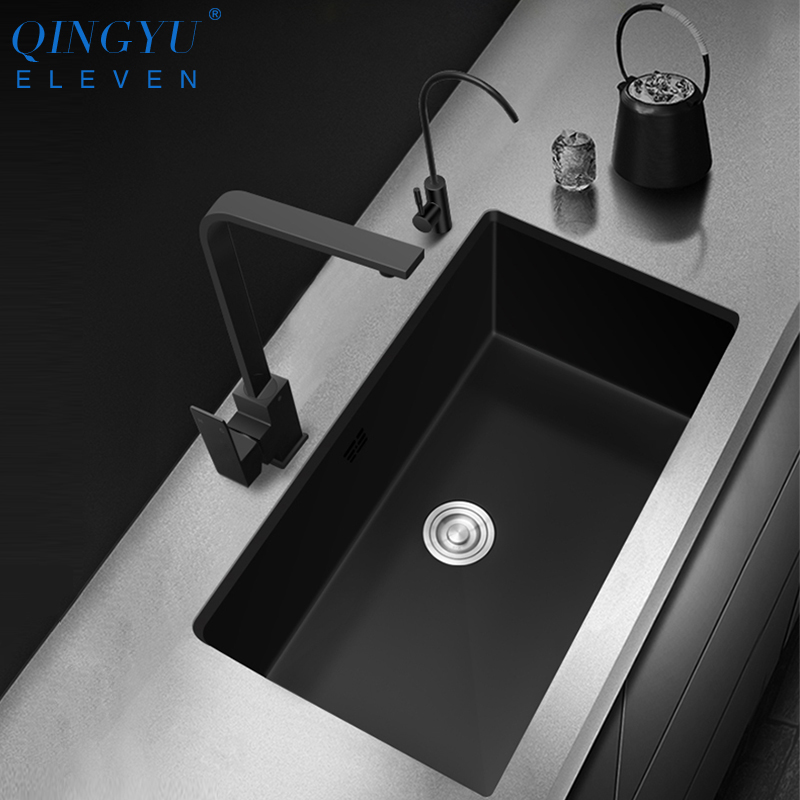 Kitchen Sink Nanometer Antibacterial Black 304 Stainless Steel Single Kitchen Sink Drain Basket And Drain Pipe Free Shipping