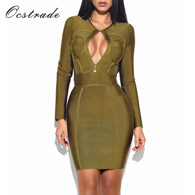 a9e1773f09 Ocstrade Womens Dresses New Arrival 2017 Sexy Zip Front Olive Green Bandage  Dess Long Sleeve Bodycon Wholesale HL
