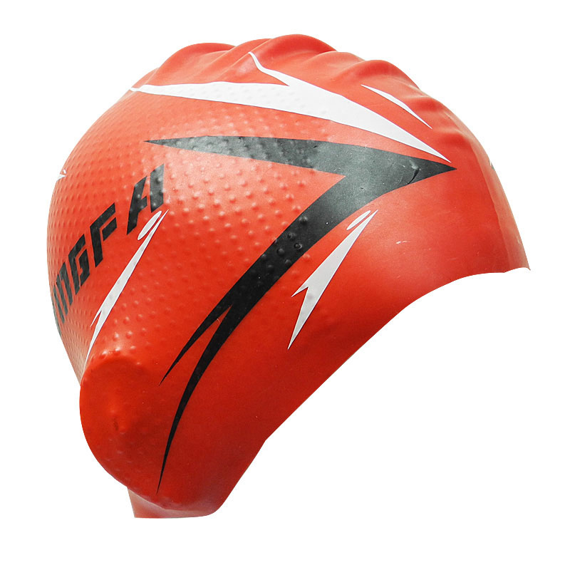 2018 New Women and men universal Red Swimming Caps Particle Swimming Cap Silicone waterproof Protect ear particle swimming caps