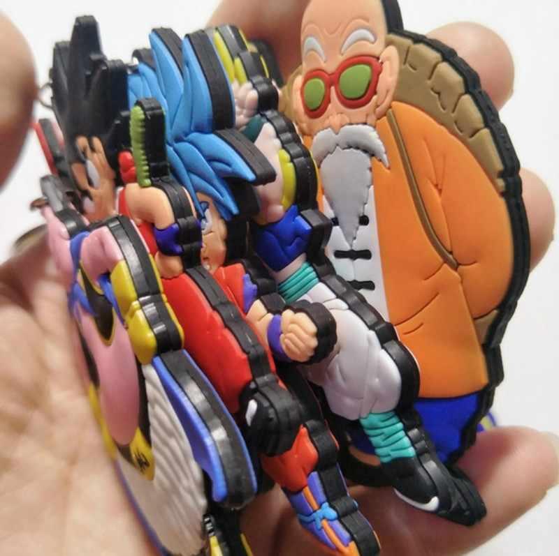 أنيمي الشكل لعبة دراغون بول المفاتيح البلاستيكية سيليكون غوكو فيغتا مفتاح سلسلة ثلاثية الأبعاد مزدوجة الجانب الكرتون حلقة رئيسية طفل حلية هدية مفتاح حامل