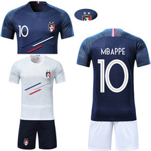 d2fead98a Men adult Boys Soccer Sets France 2 Stars custom Print Training game Jerseys  Kids Football Shirts + Shorts Running Suits