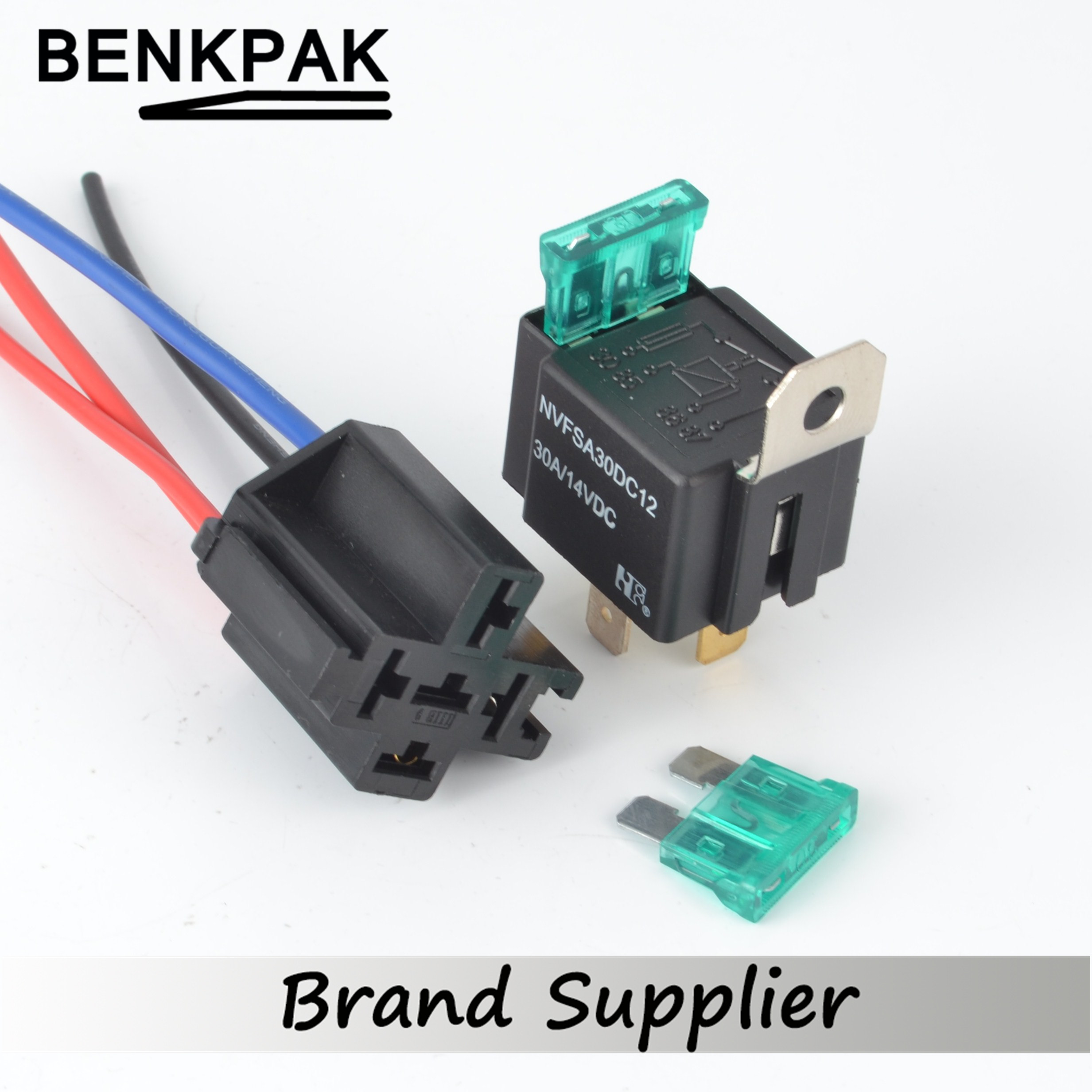 30a dc12v pre wired 4 pin relay mounting base auto relay socket holder with 2pcs 30a medium fuse [ 2465 x 2465 Pixel ]