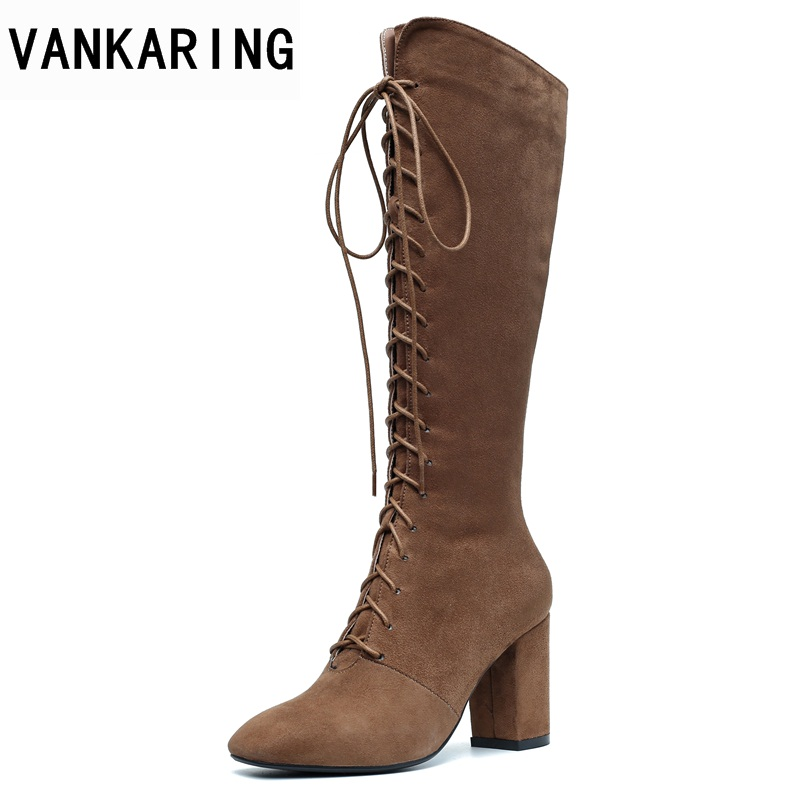 VANKARING classics women knee high boots shoes new fashion autumn winter high heels zipper shoes woman dress party riding boots