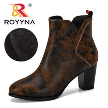 ROYYNA 2019 New Designer Popular Style Round Toe Ankle Boots Women  PU Leather Winter Plush Shoes Zippers Ladies Footwear